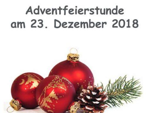 Einladung zur Adventfeierstunde am 23. Dezember 2018