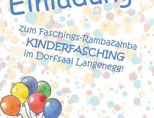 Kinderfasching RAMBAZAMBA im Dorfsaal Langenegg