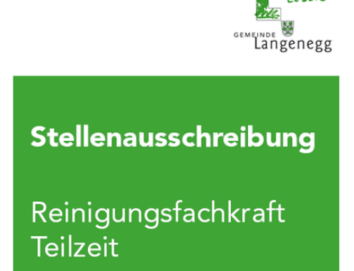 Aktuelle Stellen- ausschreibung der Gemeinde Langenegg